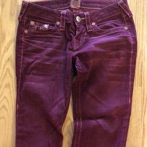 True Religion Burgandy Corduroy skinny jeans